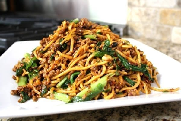 Kaitlin's Special Noodles (Ground Pork Lo Mein), by thewoksoflife.com
