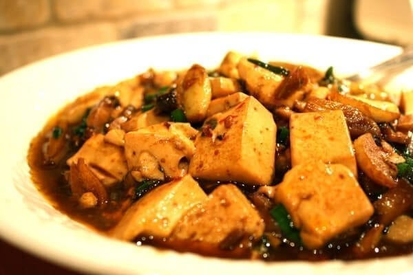 Bowl of spicy garlic tofu
