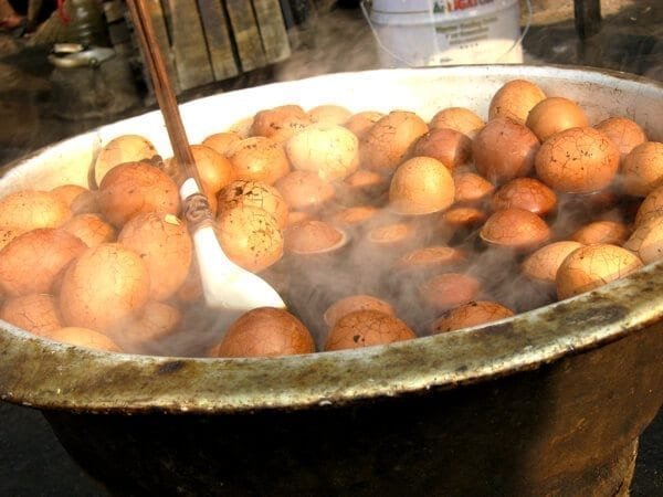Pot of tea eggs in Chinese street market