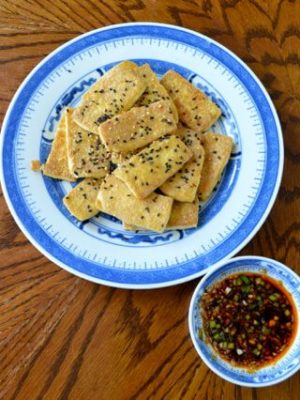 Pan-Fried Tofu with Soy Dipping Sauce, by thewoksoflife.com