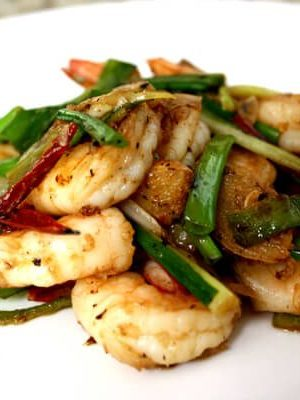Easy Scallion and Ginger Shrimp Stir Fry, by thewoksoflife.com