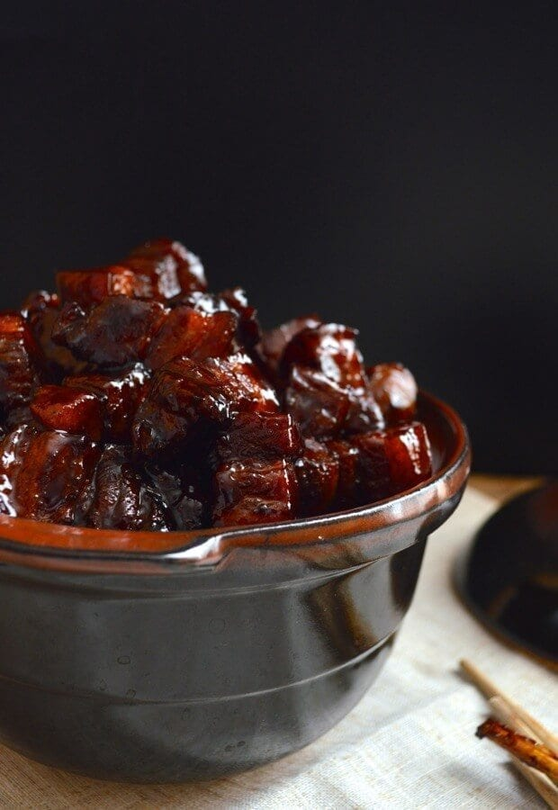 Shanghai-Style Braised Pork Belly (Hong Shao Rou), by thewoksoflife.com