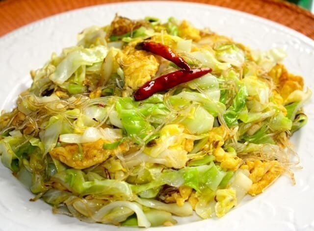 Cabbage and Glass Noodle stir fry, by thewoksoflife.com