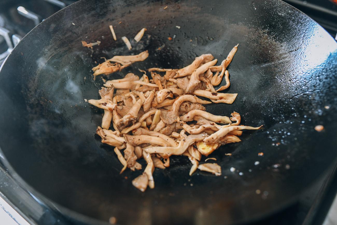 Stir-frying oyster mushrooms