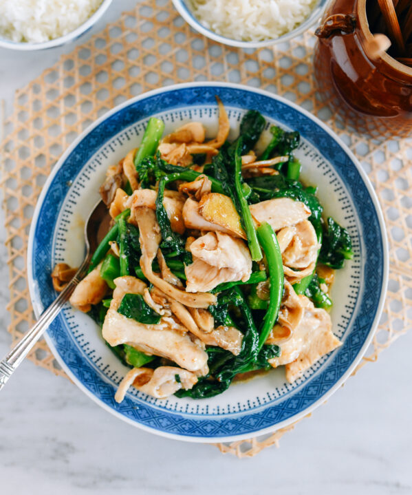 Chicken with Chinese Broccoli and Mushrooms