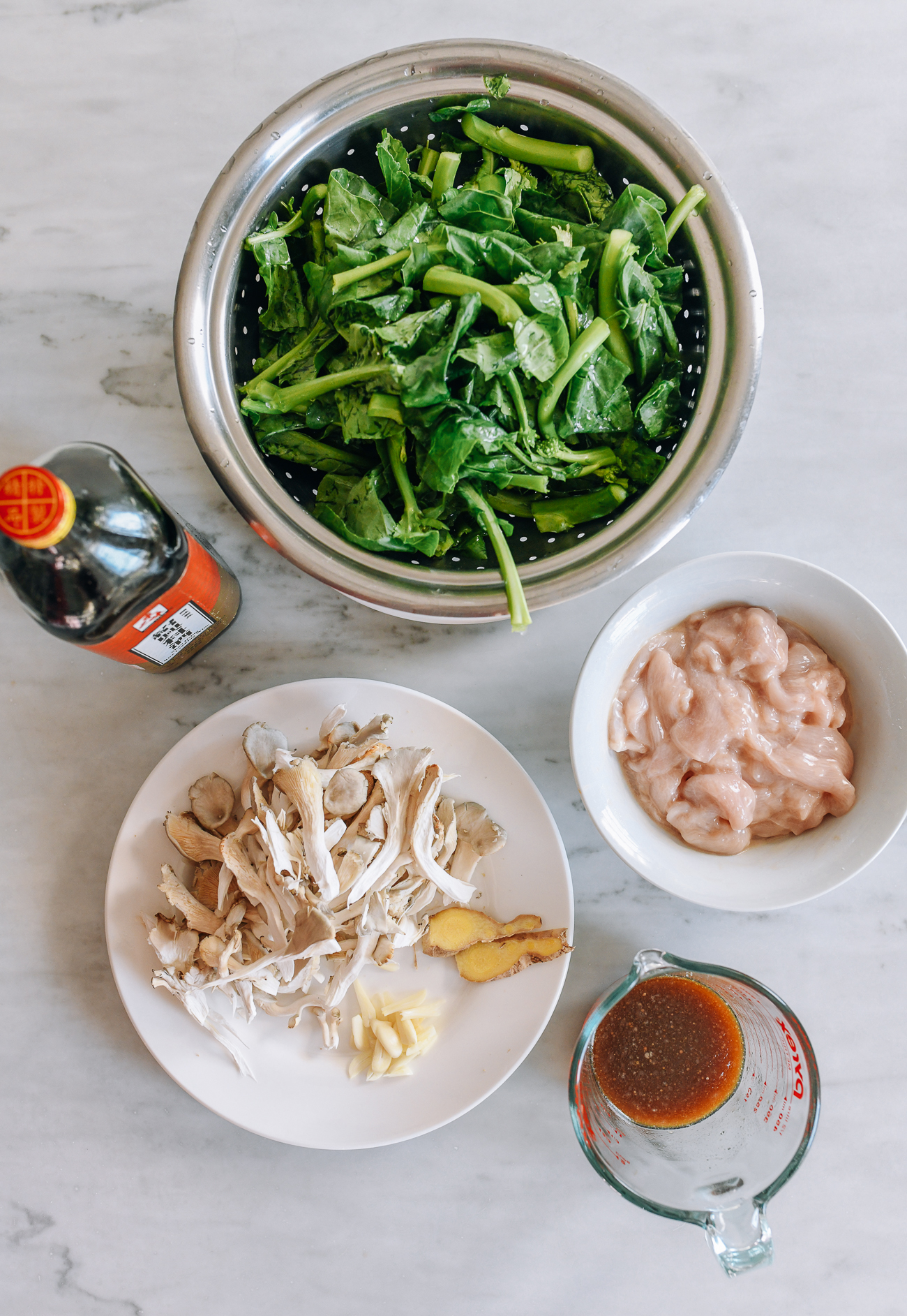 Chicken with Chinese Broccoli & Mushrooms