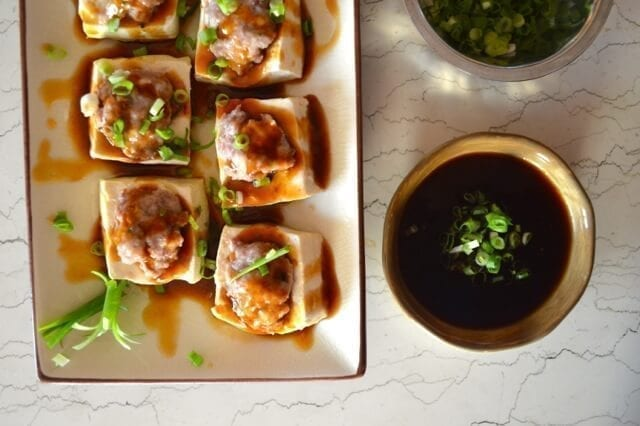 Hakka Style Chinese Stuffed Tofu by thewoksoflife.com