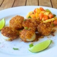 Tortilla-Crusted Scallops with Tropical Fruit Salsa