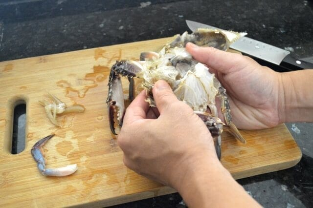 cleaning a crab