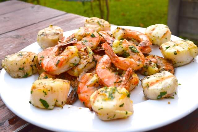 grilled shrimp and scallops