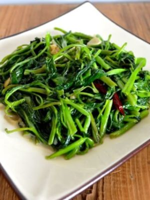 Stir Fried Water Spinach with Fermented Tofu, by thewoksoflife.com
