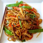 Plate of beef lo mein