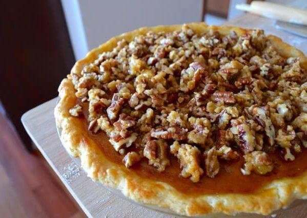 pumpkin pie with pecan streusel