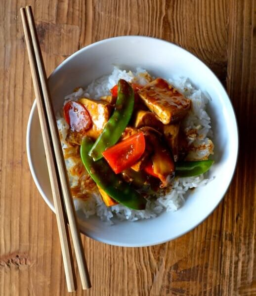 Braised tofu with vegetables over rice