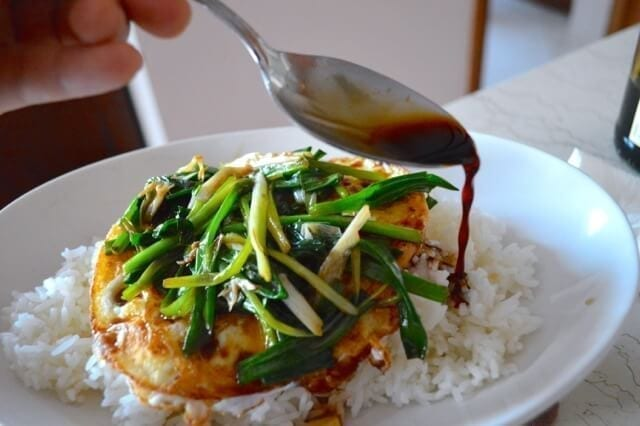 5 minute Eggs Over Easy with Scallions and Soy Sauce, by thewoksoflife.com