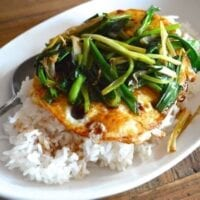 5 minute Eggs Over Easy with Scallions and Soy Sauce