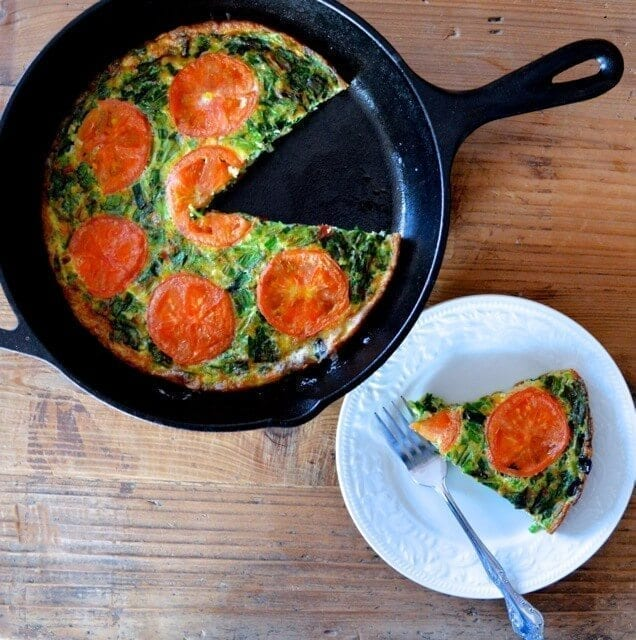 Chinese Chive Frittata with Tomatoes by thewoksoflife.com