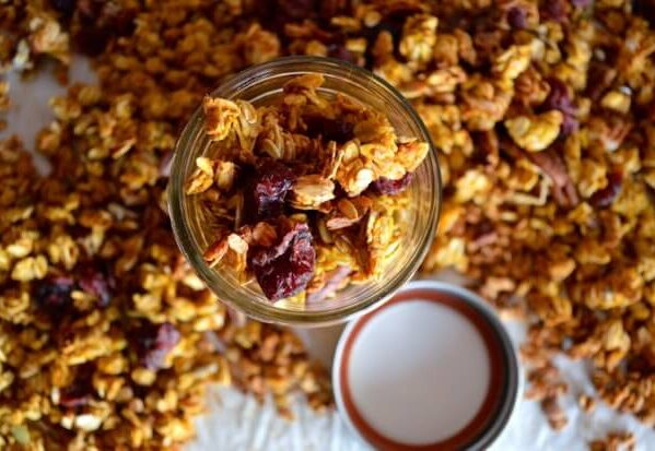 pumpkin granola with dried cranberries