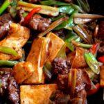 Scallion ginger beef with tofu stir-fry