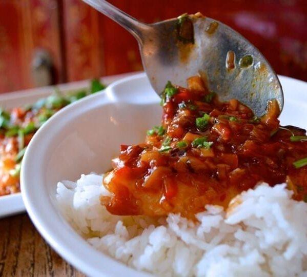 Steamed Fish w/ Spicy Bean Sauce (Douban Yu) by thewoksoflife.com