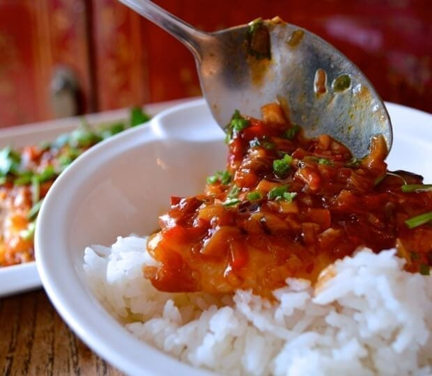 Steamed Fish w/ Spicy Bean Sauce (Douban Yu) by thewoksoflife.com