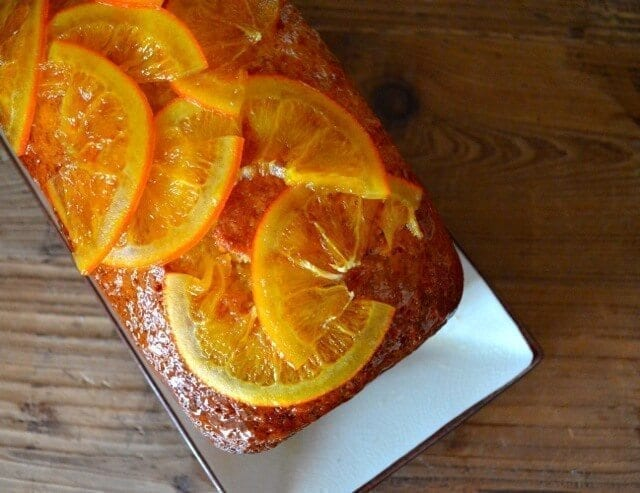 Loaf cake with candied oranges