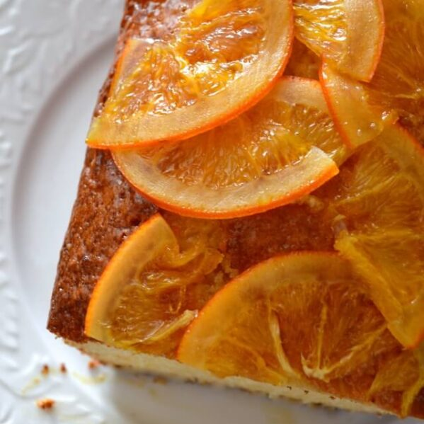 citrus cake with candied orange slices on top