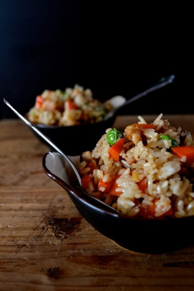 Small bowls of fried rice
