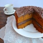 pumpkin cake with chocolate frosting