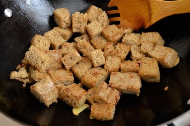 Hong Shao Kao Fu - Braised Wheat Gluten with Mushrooms, by thewoksoflife.com