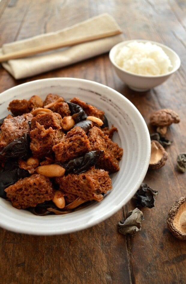 Chinese Vegan Recipes - Hong Shao Kao Fu - Braised Wheat Gluten with Mushrooms, by thewoksoflife.com