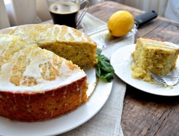 Lemon Basil Yogurt Cake, by thewoksoflife.com