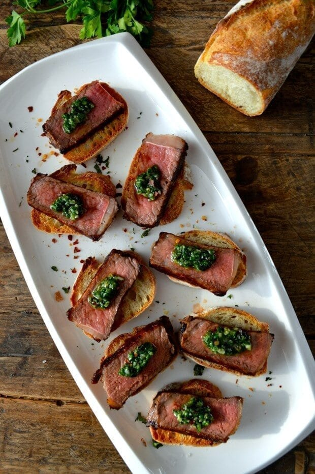 A Trio of Pinchos - Basque Country Favorites - chimichurri steak Pincho, by thewoksoflife.com