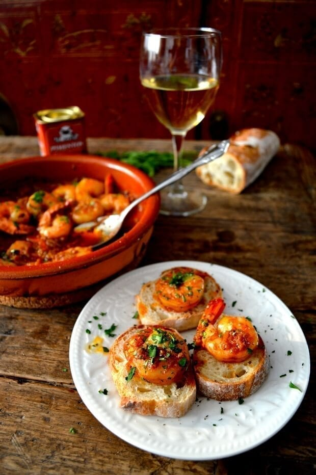 A Trio of Pinchos - Basque Country Favorites - garlicky shrimp Pincho, by thewoksoflife.com