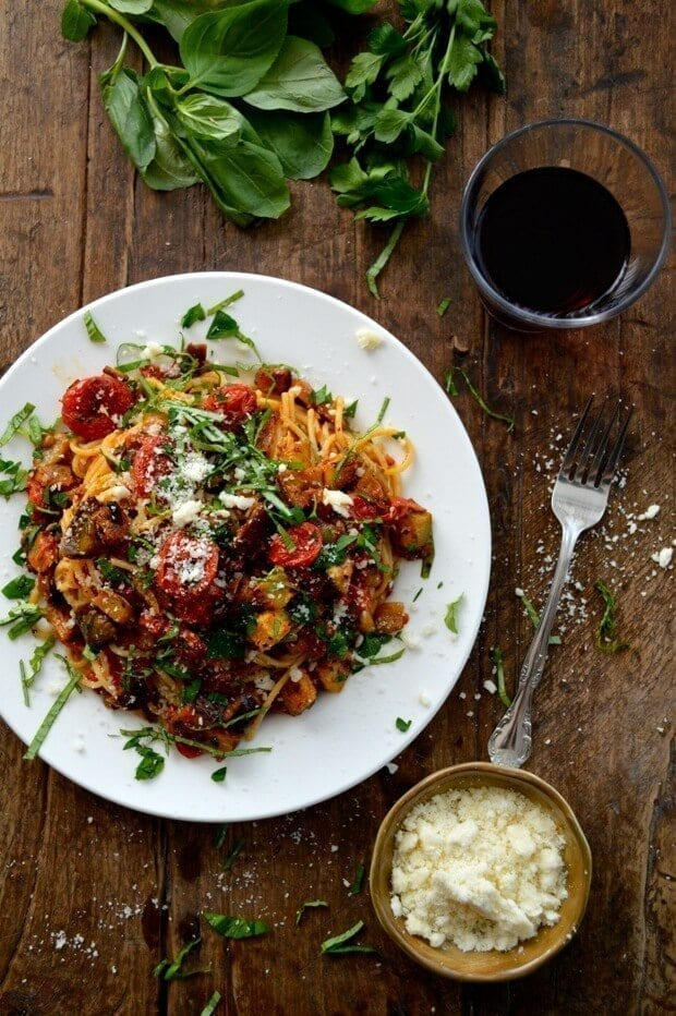 Roasted Ratatouille Pasta Recipe, by thewoksoflife.com