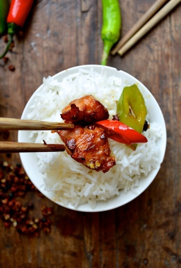 Sichuan Spicy Three Pepper Chicken, by thewoksoflife.com