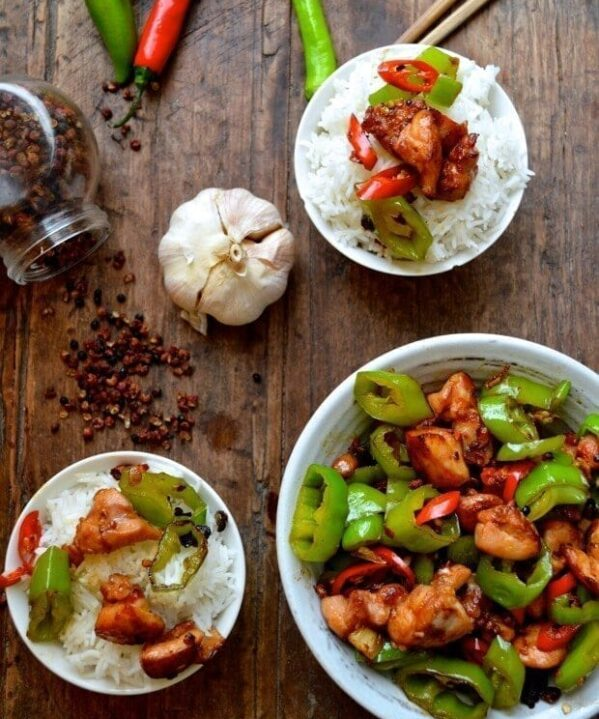 Sichuan Spicy Three Pepper Chicken - chilis, by thewoksoflife.com