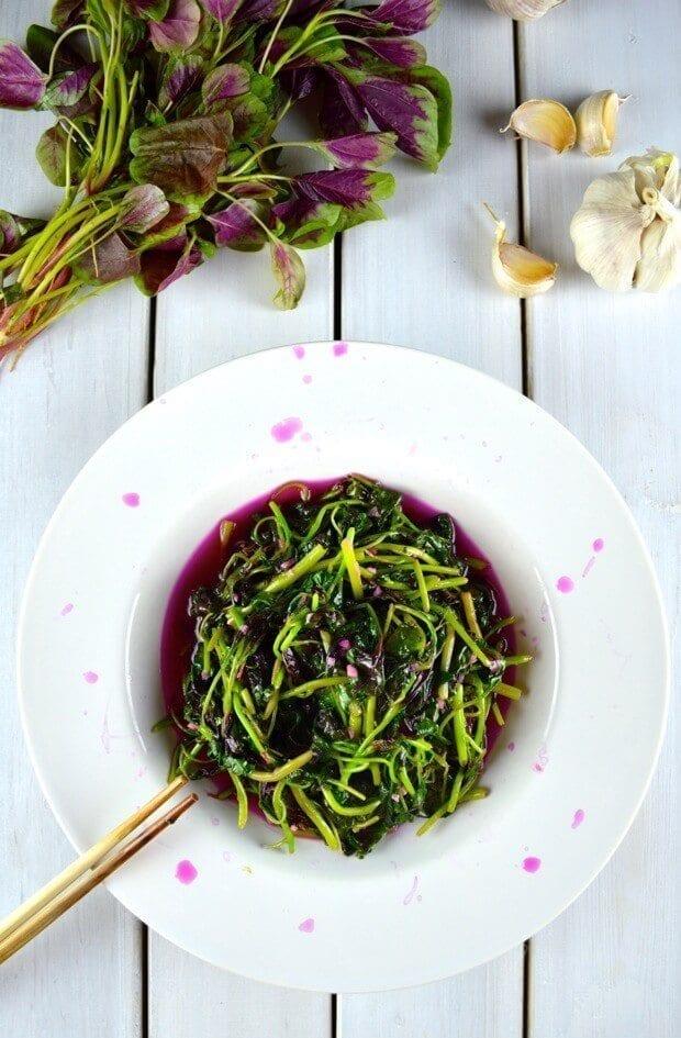 Stir-fried Pink Amaranth Greens by thewoksoflife.com