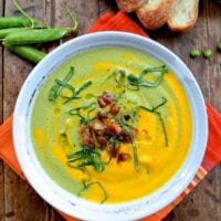 Carrot Pea Soup w/ Pancetta, Basil and Mint