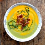 carrot pea soup with bacon