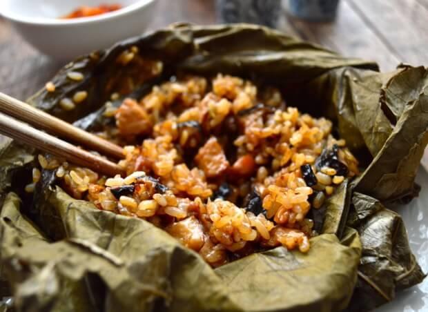 Dim Sum Sticky Rice Lotus Leaf Wraps (Lo Mai Gai), by thewoksoflife.com