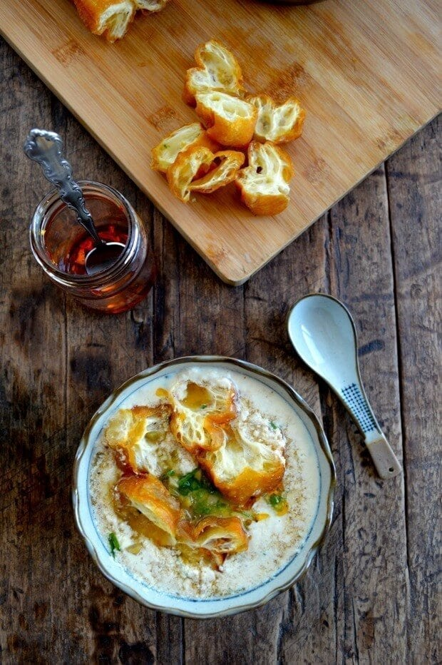 Savory Soy Milk Soup w/ Fried Dough (Dou Jiang), by thewoksoflife.com