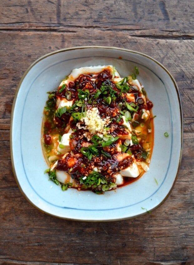 Spicy Cold Tofu (Liangban Dofu) - A 5 Minute Recipe, by thewoksoflife.com