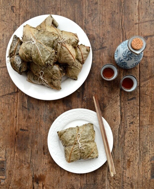 Dim Sum Sticky Rice Lotus Leaf Wraps (Lo Mai Gai), by thewoksoflife.com