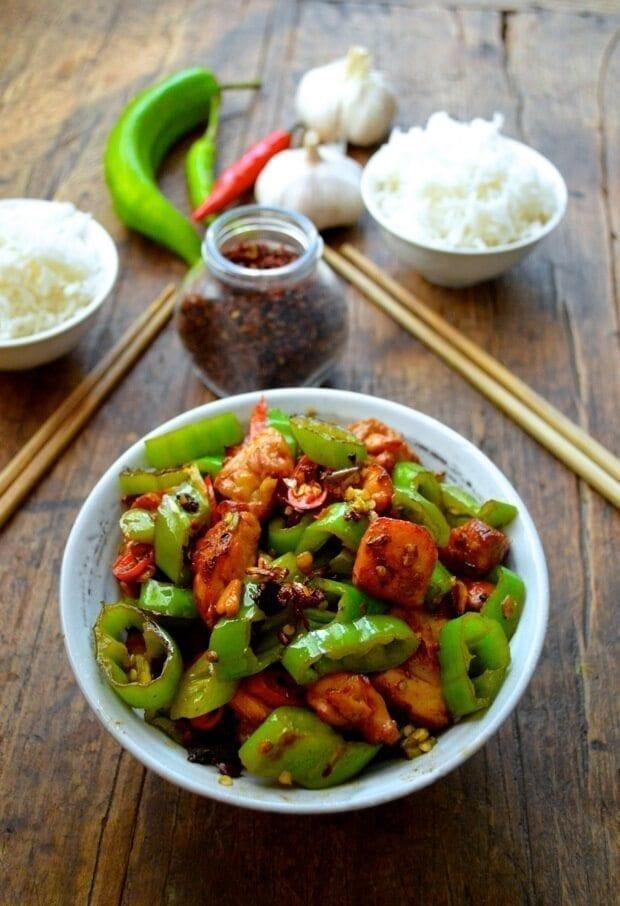 Sichuan Spicy Three Pepper Chicken, by thewoksoflife.com