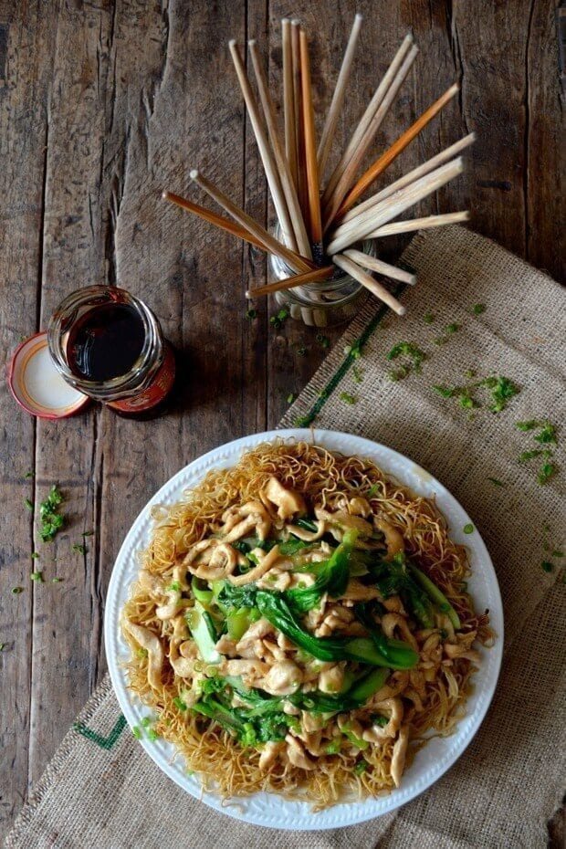 Chicken Pan-Fried Noodles (Gai See Chow Mein) by thewoksoflife.com