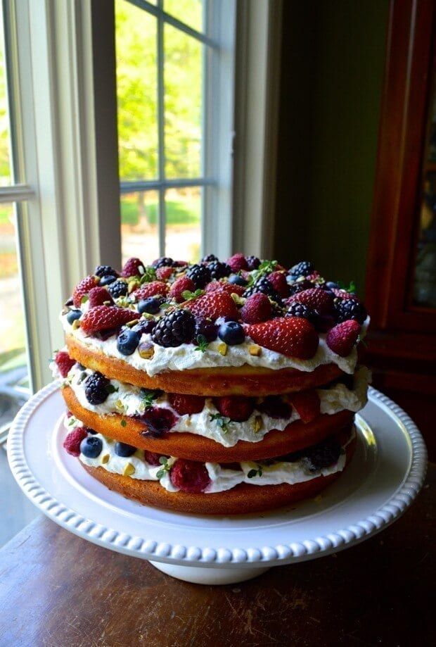 Triple Layer Berry Cake W Lemon Cream And Thyme The