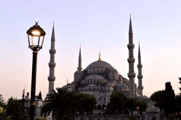 Blue Mosque at Dusk - How to See Istanbul In One Day by thewoksoflife.com