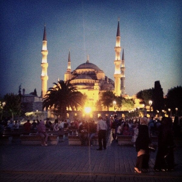 Blue Mosque at Night - How to See Istanbul In One Day by thewoksoflife.com