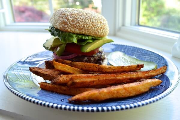 Burger and Homemade Fries by thewoksoflife.com